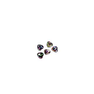 5 small black AB rhinestones heart 8x8mm