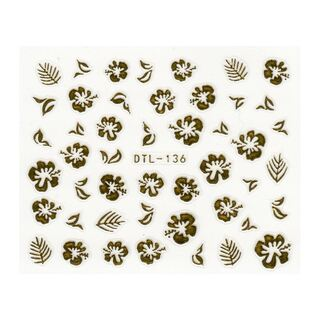 Blumen Stickerbogen gold DTL-136