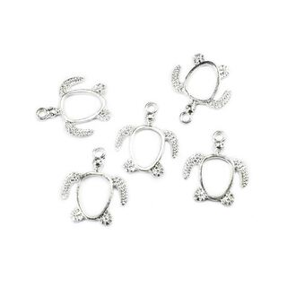 5 small turtle bezels silver